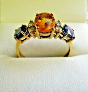 Unusual-9-Carat-Gold-Citrine-Peridot-and-Sapphire-Ring