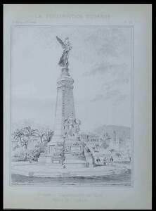 Raisonnable Nice, Monument Commemoratif - Planche 1896 - Jules Febvre Riche Et Magnifique