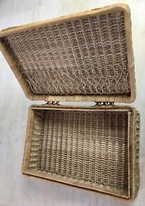 Vintage Wicker Rattan Suitcase Style Basket - Picnic/Sewing/Storage - Very Cool!