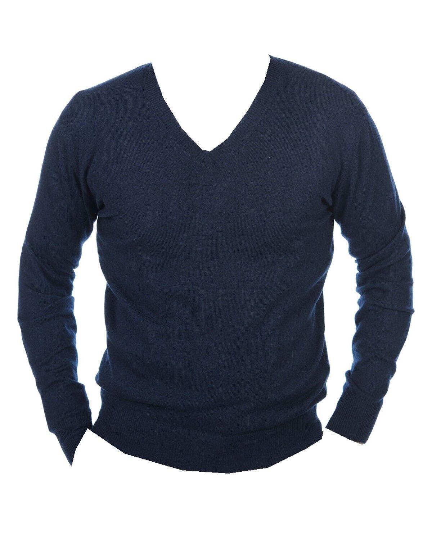 Balldiri 100% Cashmere Herren Pullover V Ausschnitt nachtblau L