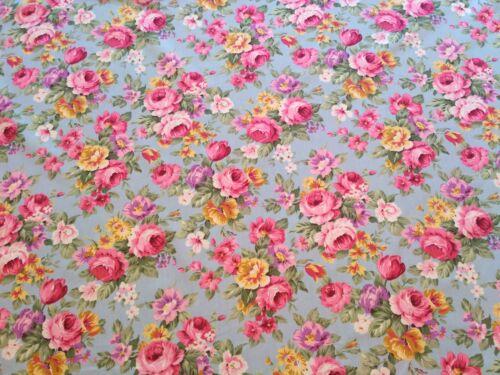 Paquete De 3 metros cielo Azul Floral Algodón Popelín Tela Retro Vintage Estilo Funky