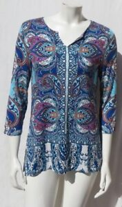 CHICO-S-Blue-Paisley-Print-Stretch-Knit-Eclectic-Side-Slit-Tunic-Shirt-Top-0-4-6