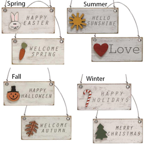 Details about  /Set of 8 Seasonal Wood Charm Hanging Ornaments Distressed Country Prim