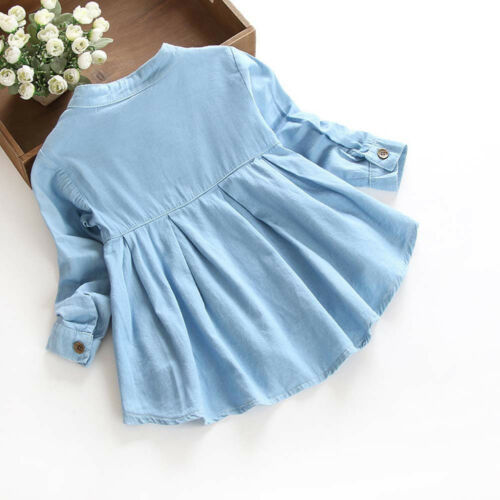 Kids Baby Girls Long Sleeve Blouse Denim Ruched T-Shirt Tops Shirts Clothes KW