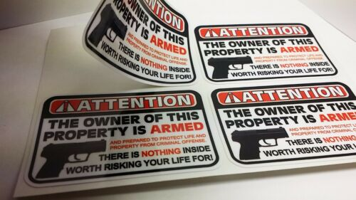 """Owner is Armed Warning Security DECALS Gun Firearm STICKERS 2/"""" X 3/"""" Sheet of 4"""