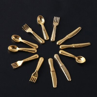 Mini Silverware Kitchen Metal Cooking Tool Fork Spoon 1:12 Dollhouse Tableware