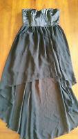 Fahrenheit Black Hilo Dress Lined Satin Feel Bodice Sz10 Free Post D64