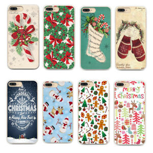 Christmas-Xmas-Pattern-Silicone-TPU-Soft-Back-Case-Cover-For-iPhone-8-7-Huawei