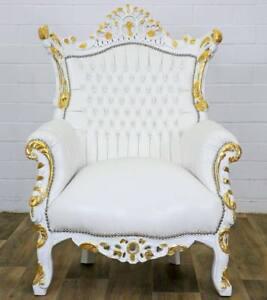traumsessel luxus barock stuhl sessel wei gold faux leder polsterung antik wei ebay. Black Bedroom Furniture Sets. Home Design Ideas