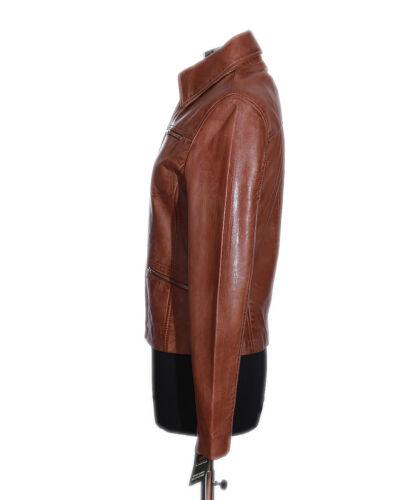Jenny Leather Style Real Smart Fashion Tan Waxed Shirt Ladies Lambskin Jacket rwrqA