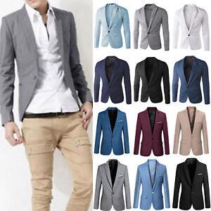 Mens-Casual-Slim-Formal-Business-Suit-Blazer-One-Button-Soild-Coat-Jacket-Tops