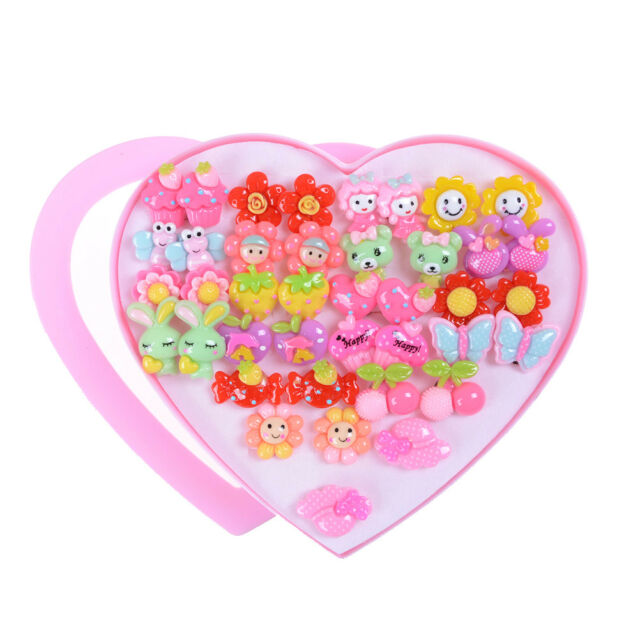 20Pairs Cute Clip-On No Pierced Earrings For Kids Child Girls Christmas Gift Bq