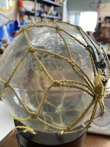 """VINTAGE PORTUGAL CLEAR GLASS FISHING FLOAT APP 64 CM circ, """"RG EXTRA"""""""