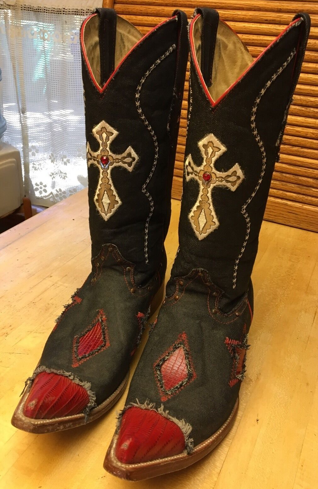 RARE Mens Joe Boots (RED WHITE & blueE) Bovine Leather Boots Size 9 1 2