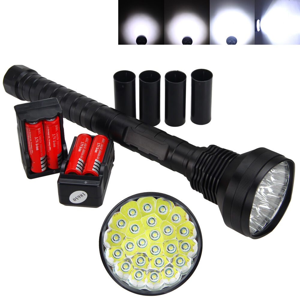 36000LM 36000LM 36000LM Tactical 24x XM-L T6 LED Flashlight Torch Hunting 4x18650 Lamp + Charger 4423db