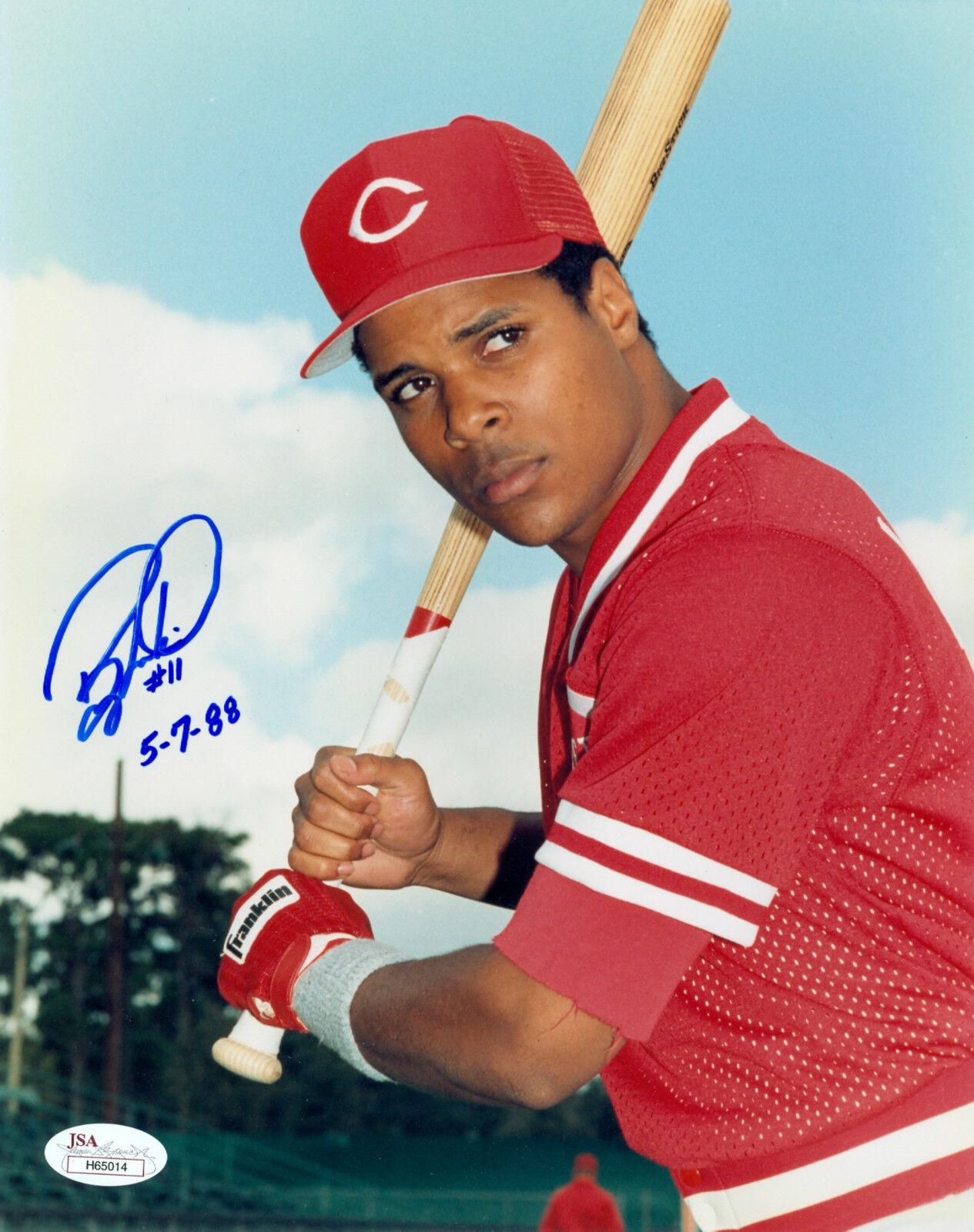 Barry Larkin Cincinnati rojos Firmado Autógrafo Inscrito 8X10 Foto JSA