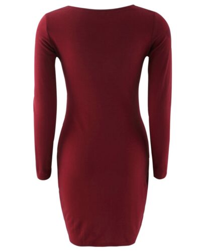 Spring Fashion Knitted Dress Open Neck Burgundy Red Slim Fit Buttons Up Modern S
