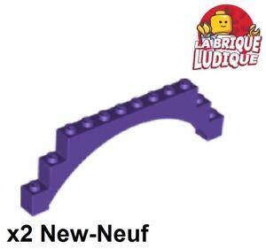 Lego-2x-Brique-Brick-Arche-Arch-raised-1x12x3-violet-dark-purple-14707-NEUF