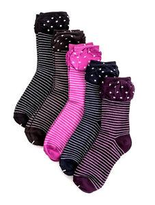 5-Paar-Damen-Socken-Winter-Struempfe-Punkte-Ringel-Soeckchen-Rueschen-36-41-31