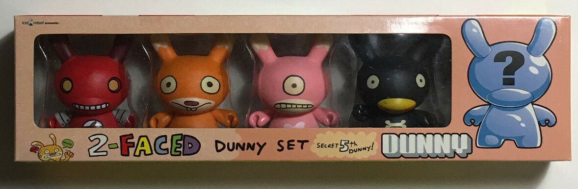 Kid Robot David Horvath's 2-Faced Dunny Set with Secret 5th Dunny