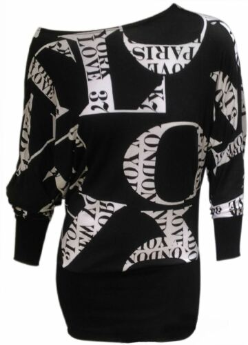 Womens Printed Batwing Long Sleeve Baggy Top Ladies Plus Size Stretchy Shirt