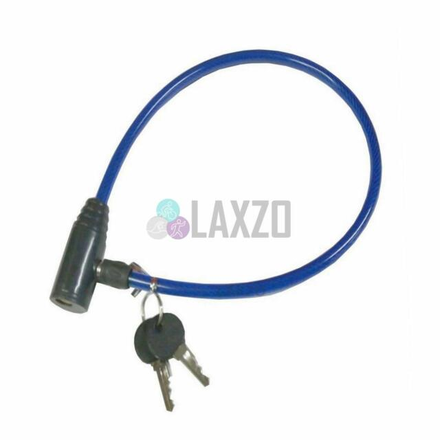 Spiral Mountain Bike Cycle Cable Lock Heavy Duty Blue 2 Key New