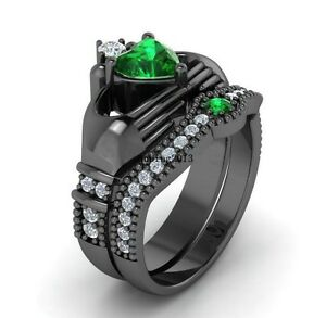 Claddagh Ring Sets Black Gold Filled 1CT Heart Emerald CZ Womens
