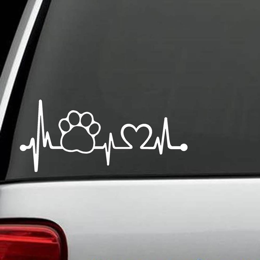 K1054 Long Haired Dachshund Heartbeat© Lifeline Monitor Dog Decal Sticker