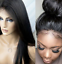 Women-Full-Lace-Wig-100-Remy-Brazilian-Human-Hair-Wigs-Wave-Straight-Black thumbnail 2