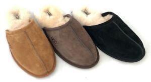 5be6b4a9fff8 Image is loading Ugg-Mens-Scuff-Slippers-Water-Resistant-Suede-Black-