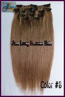 300g Deluxe Thick Clip In 100%Real Human Hair Double Weft Remy Hair Extensions