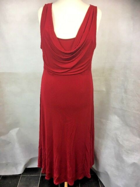 Planet Womens Dress Red Size 16 Maxi Long Cowl neck Stretch Summer N1