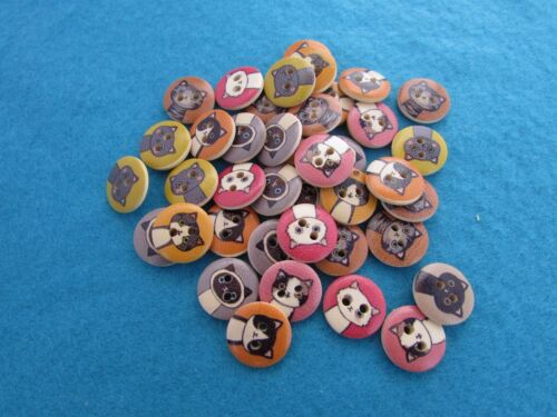 15 mm ronde en bois Chat Boutons 2 Trous Assorted Pack Tailles
