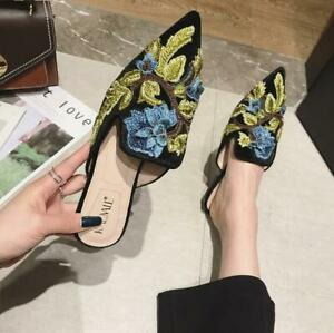 Handmade-Casual-Loafers-Embrodery-Mules-Vogue-Flat-Heel-Womens-Shoes-Pointed-Toe