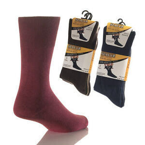 Mens-Stay-Up-Diabetic-Socks-99-Cotton-Non-Elastic-Loose-Top-Wide-Fit-3-6-12-Pk
