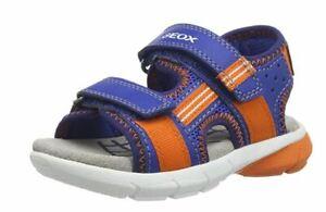 Geox B S Flexyper Royal Blue/Orange Open Toe Sandals UK Size 5 Child (EU 22)