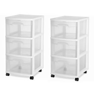 Image Is Loading 3 Drawer Organizer Rolling Storage Cart Bin Plastic