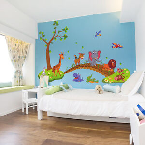 wandtattoo wandaufkleber kinderzimmer tiere wandsticker affe elefant premium ebay. Black Bedroom Furniture Sets. Home Design Ideas