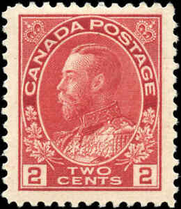 1917-22-Canada-Mint-H-2c-F-VF-Scott-106-KGV-Admiral-Issue-Stamp