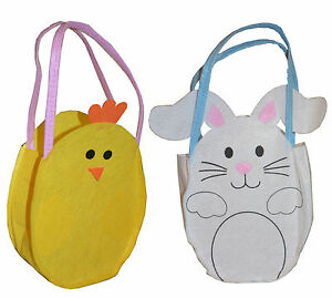 Easter Felt Treat Bags Yellow Chick Egg Hunt Gift Treat Bag