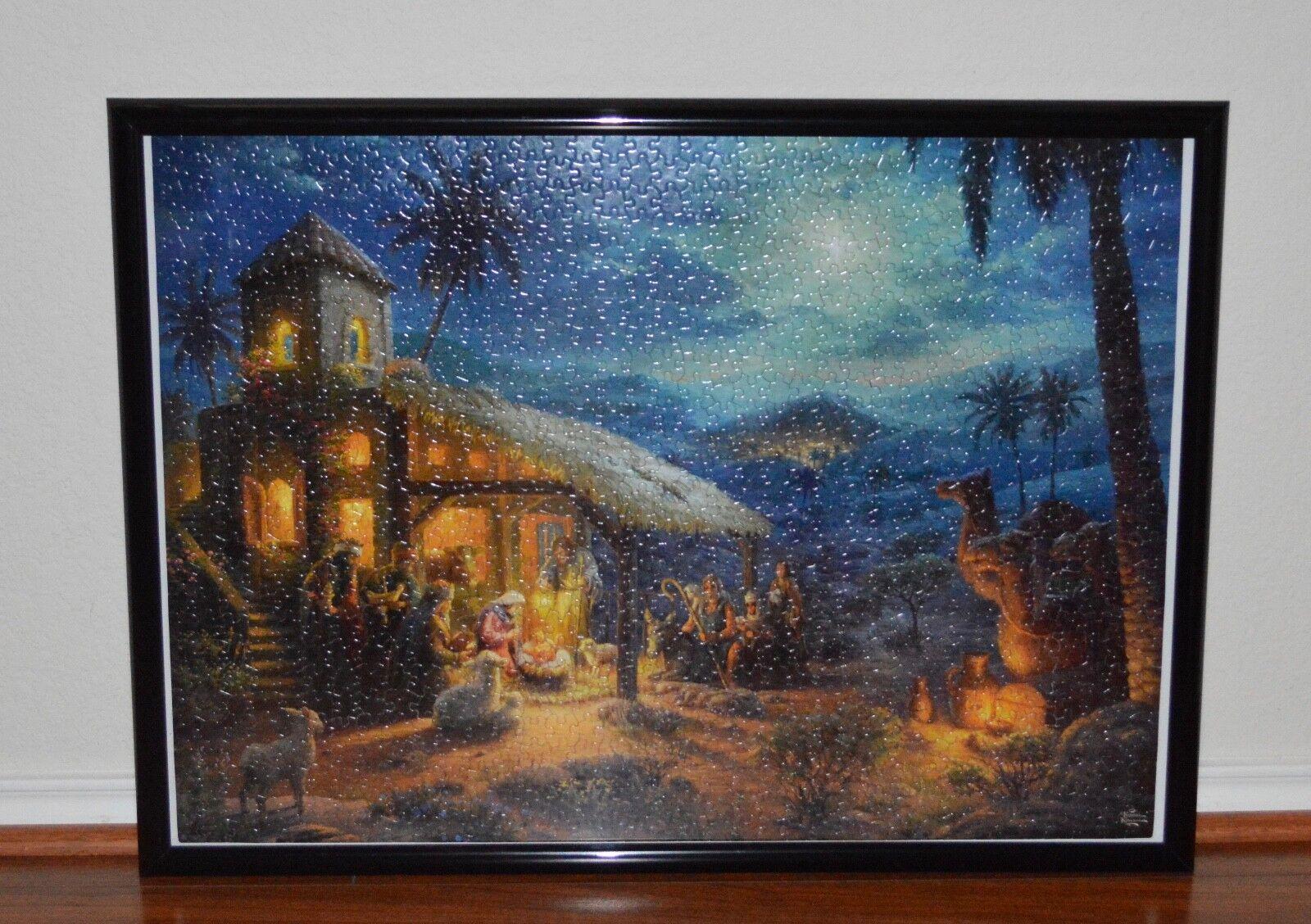 Thomas Kinkade The Nativity 1,000 Pieces Jigsaw pussel Sammanställd med ny ram
