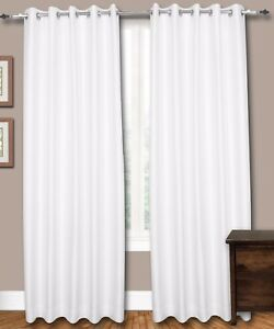 Image Is Loading Pair Of White Eyelet Faux Dupioni Silk Curtains