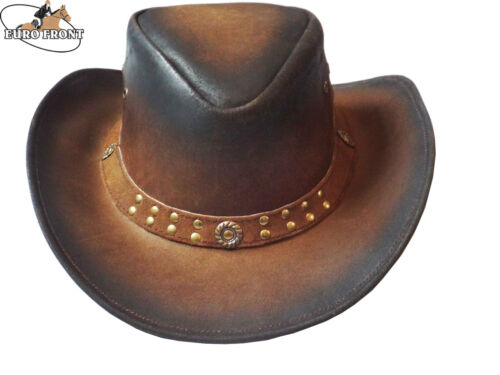 LEATHER Cappelli Cowboy Stile Western Bush Cappelli di qualità superiore