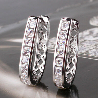 Enchanting 18k white gold filled Sapphire Crystal lady hoop earring