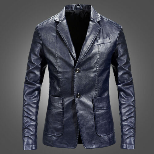 2019 New Winter Men/'s Suit Leather Winter Warm Washed Leather Jacket Coat Tops