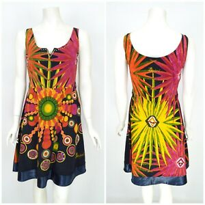 Womens-Desigual-Dress-Sleeveless-Cotton-Multicolored-Floral-Print-Summer-Size-L