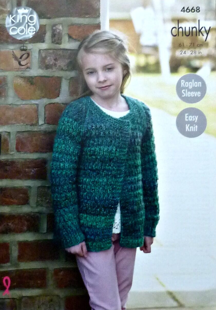 Knitting Pattern Girls Easy Knit Long Sleeve Cardigan Chunky 4668 ...