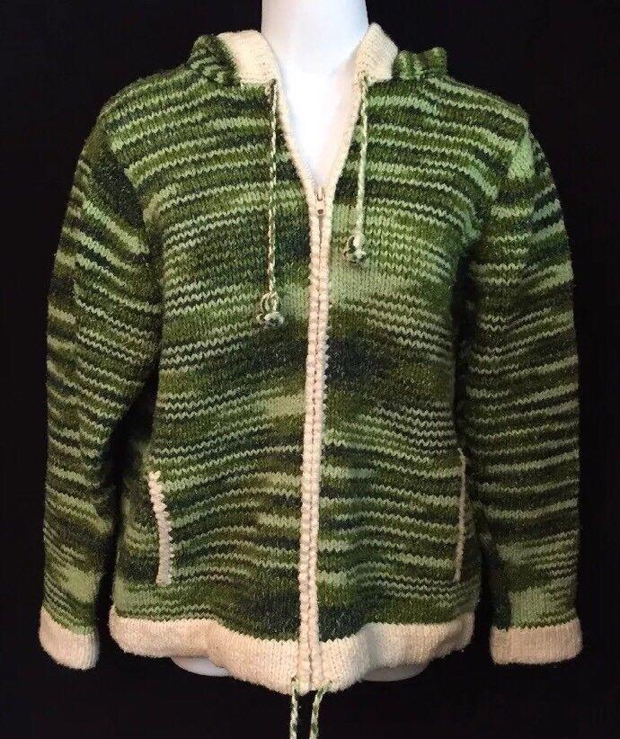 Women's Alpaca Connection 100% Alpaca Wool Zip Up Sweater w  Hood Handmade Sz S