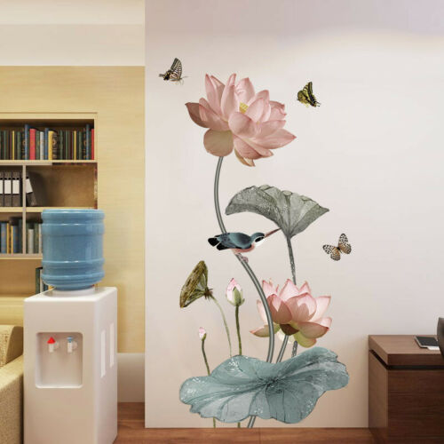 Lotus Flower Chinese Calligraphy Wall Stickers Vinyl Decal Home Decor Art Mural