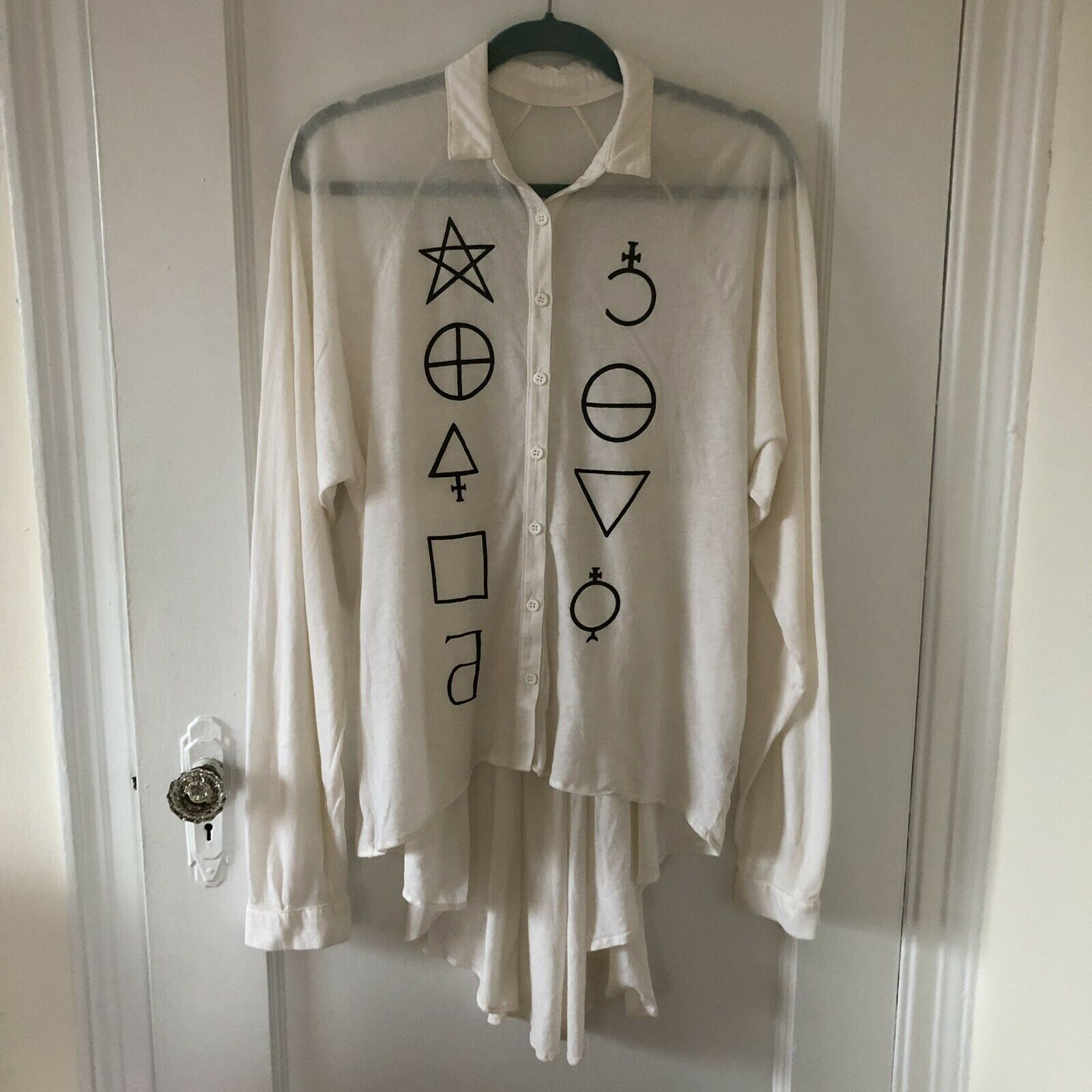 NEW Wildfox Star Signs Button Down Lagenlook High Low Shirt Top Sz M